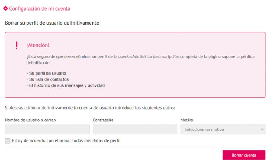 Como Eliminar cuenta, perfil cancelar registro borrarme de Encuentroadulto paso 4